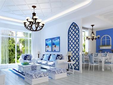 本案为地中海风格,蓝色与白色的巧妙搭配,让人仿佛正