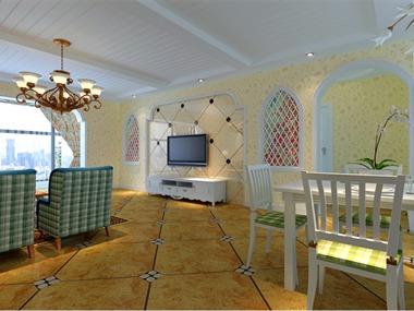 本案运用各类浅色调的墙纸,用拱形哑口,弧形窗花,宝
