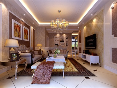 本案是一套典型的简欧风格的居住住宅,整体格调以米黄