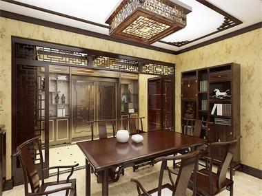 本案设计定位为中式风格,是在室内布置、线形、色调以