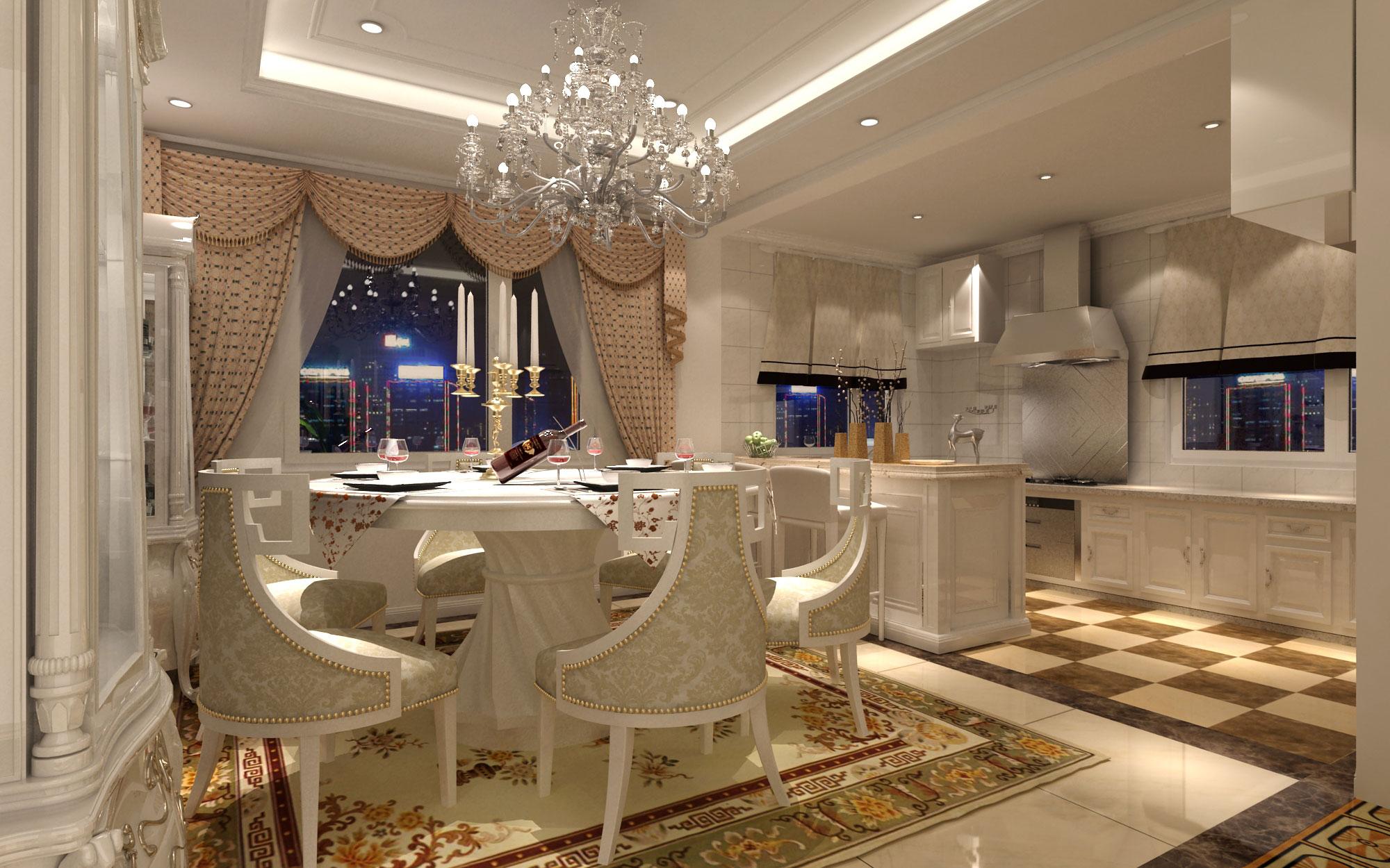 欧式厨房吧台效果图