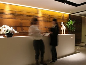 """""""亚邑""""办公室设计方案办公空间背景墙"""