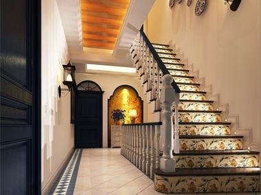 美式玄关楼梯效果图