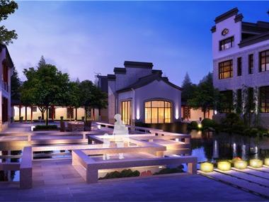 新中式庭院背景墙效果图