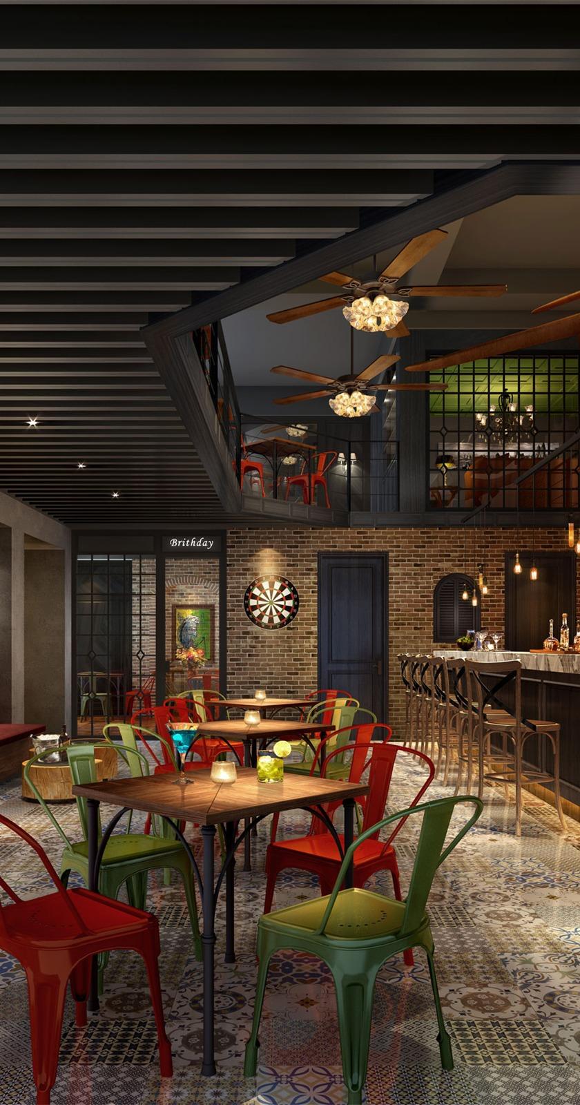 美式工业风格音乐餐厅酒吧