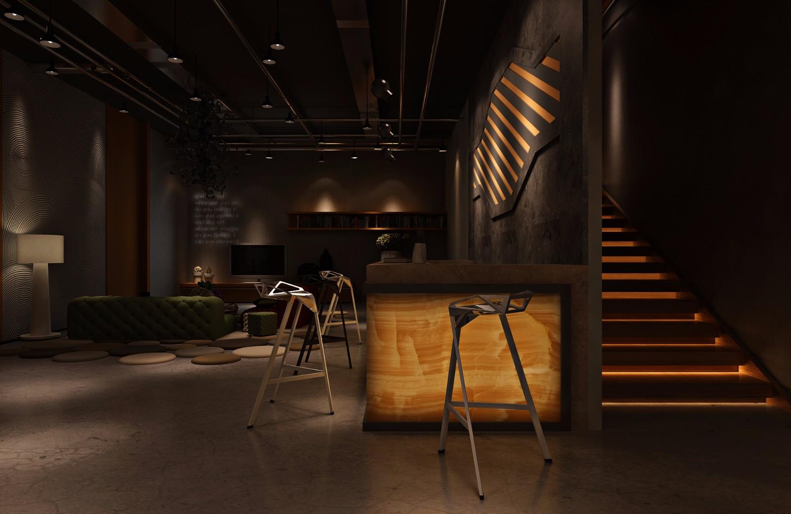 酒吧楼梯效果图