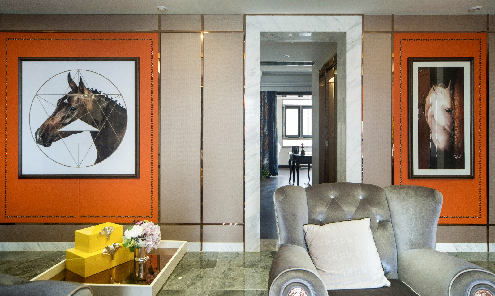 现代客厅背景墙实景图