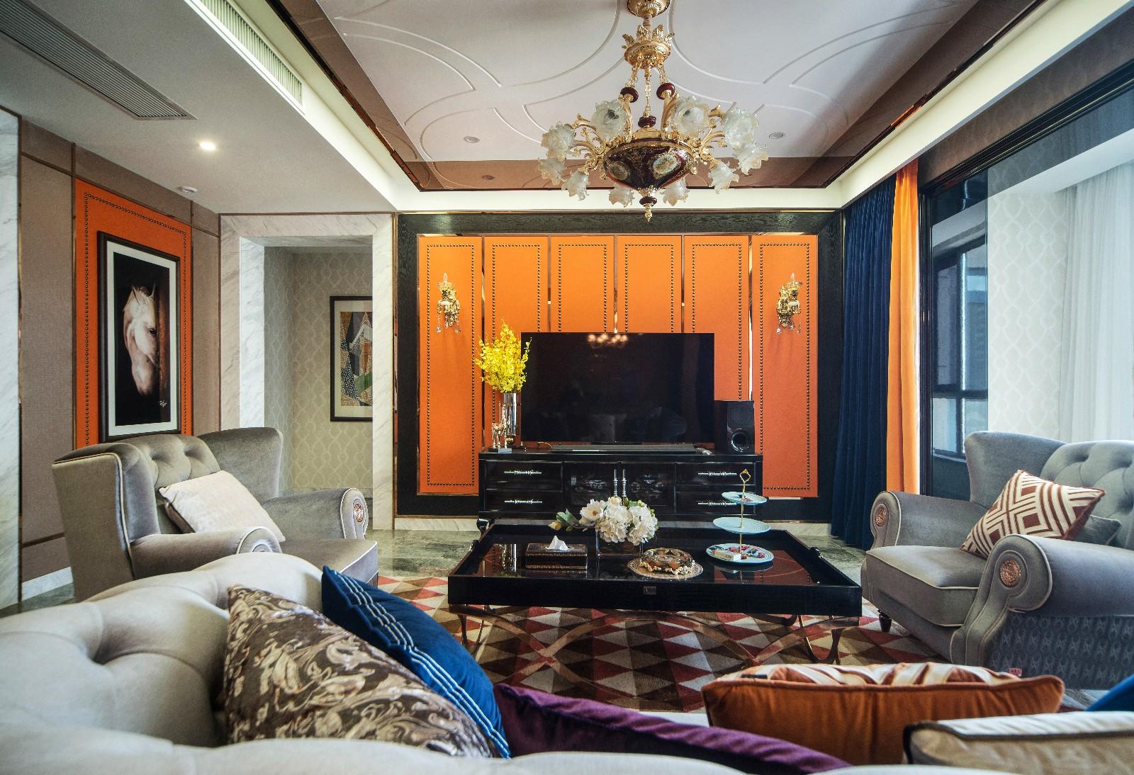 现代客厅电视背景墙实景图