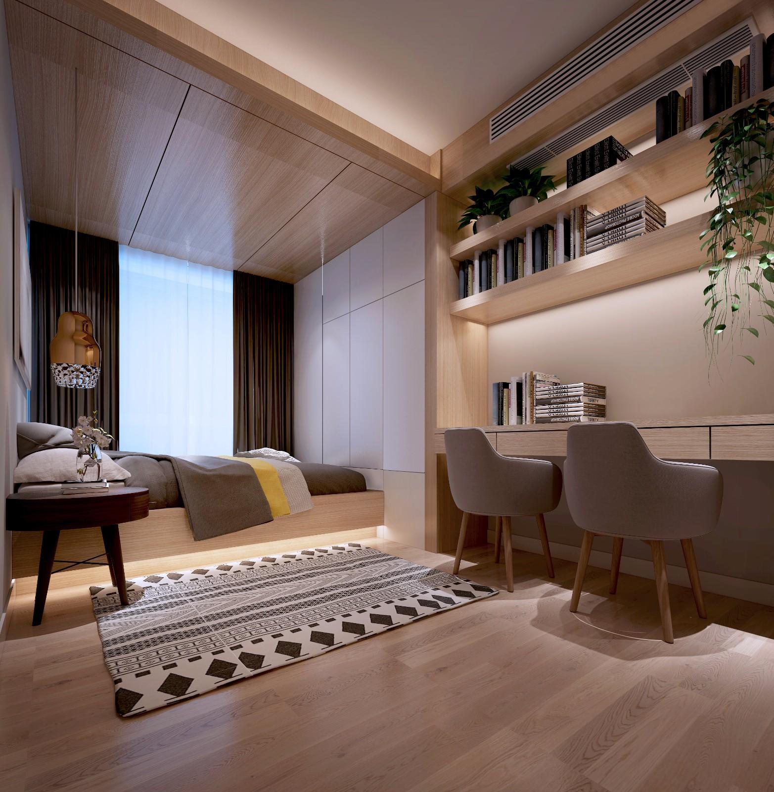 现代卧室榻榻米效果图