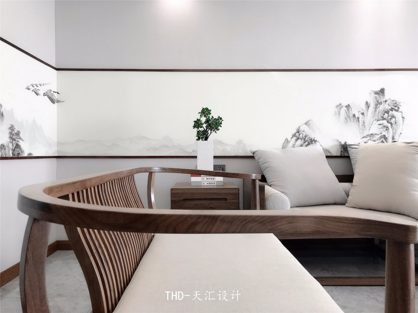 中式客厅背景墙实景图