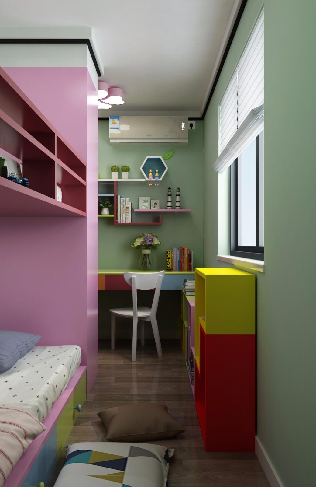 现代儿童房背景墙效果图