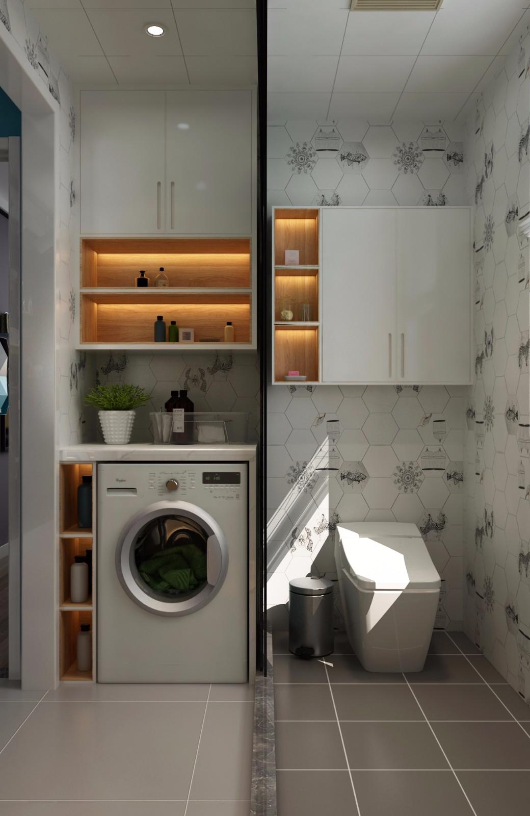 现代卫生间背景墙效果图