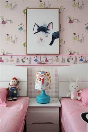 中式儿童房背景墙效果图