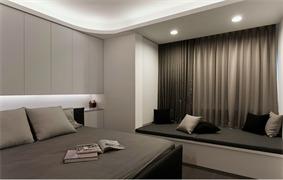 现代卧室飘窗实景图